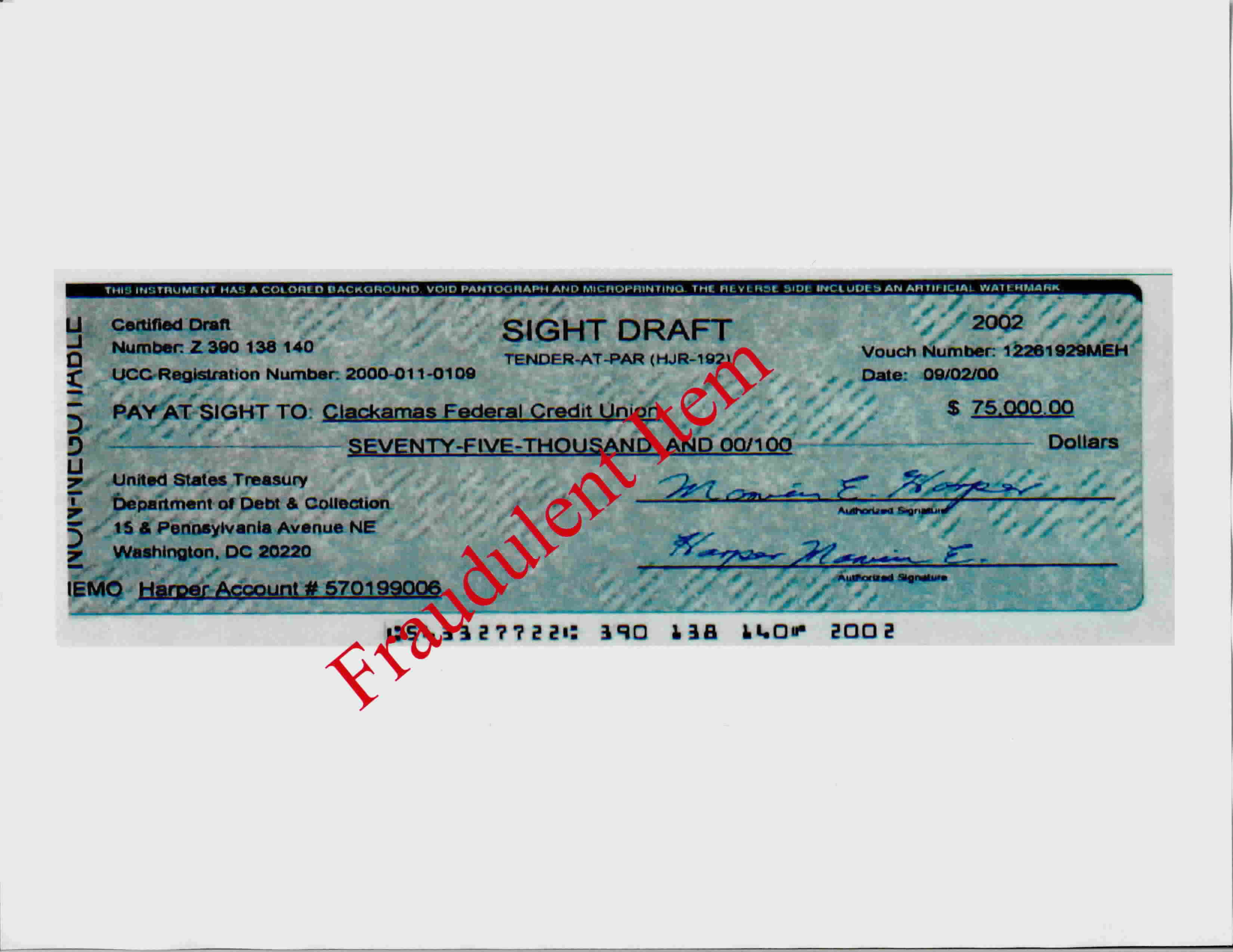 Institutional Bogus Sight Draftsbills Of Exchange Drawn On The