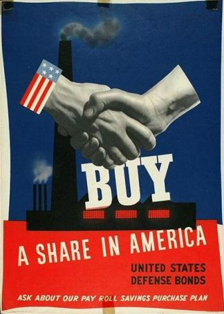 Poster: Buy a Share in America:  United States Defense Bonds.  Ask about our Pay Roll Savings Purchase Plan