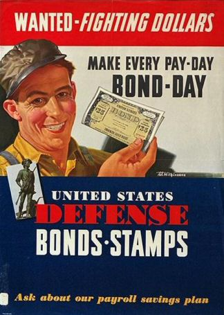 Poster: Wanted-Fighting Dollars.  Make Every Pay-Day Bond-Day.  United States Defense Bonds-Stamps